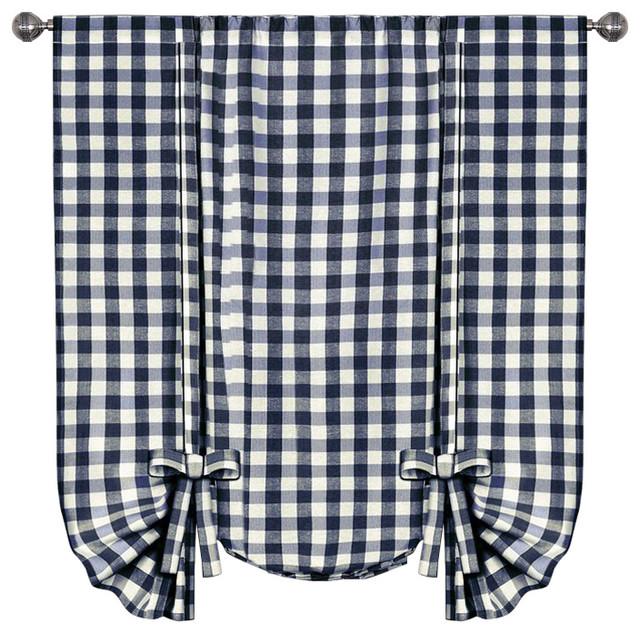 Buffalo Check Window Curtain Tie Up Shade 42x63 Burgundy