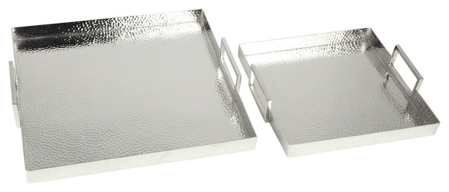 Moe Home Contemporary 2-Piece Set Trays, Silver Finish