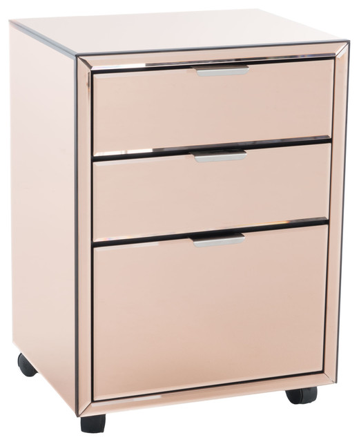 Hyde Mirrored 3 Drawer File Cabinet - Transitional - Storage Cabinets - by GDFStudio