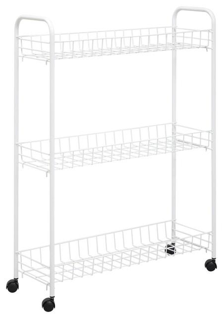 Honey Can Do 3-Tier Laundry Cart, White.