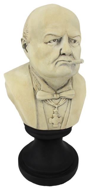Ceramic Winston Churchill With Cigar Bust Contemporary