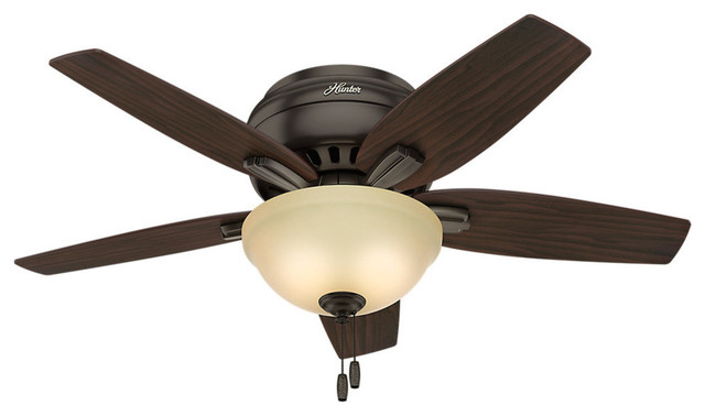 "Hunter 42"" Newsome Low Profile Premier Bronze Ceiling Fan With Light."
