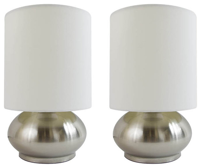 Simple Designs Mini Touch Lamps With Silver Metal Base And Ivory Shade, Set Of 2.