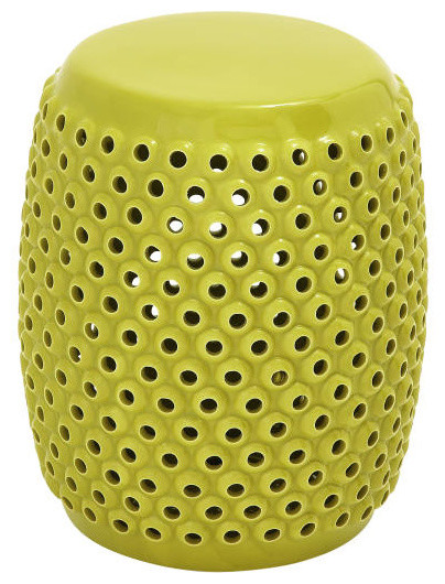 Chic Yellow Ceramic Foot Stool Contemporary Accent And Garden Stools