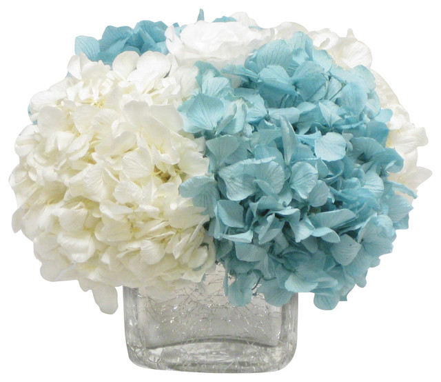 Cracked Glass Cube White Rose Hydrangea Ice Blue And