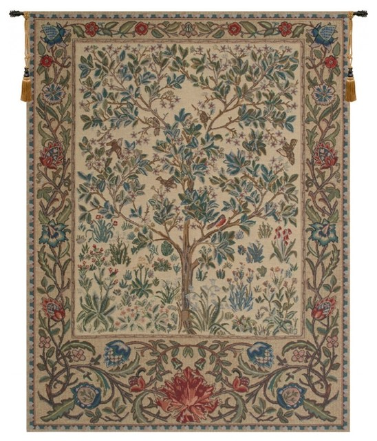 "The Tree Of Life Beige Wall Tapestry, 30""x22""."