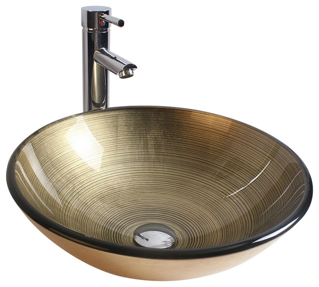 Glass Round Vessel Bathroom Sink With Faucet.