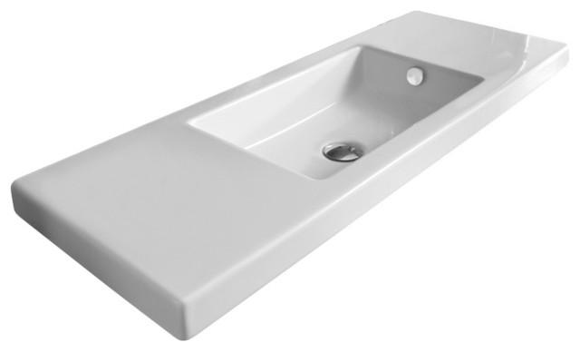 Rectangular White Ceramic Wall Mounted Or Built In Sink