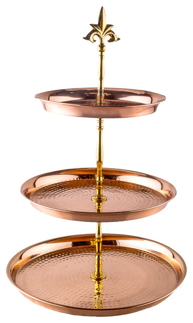 Three Tier Hammered Solid Copper With Brass Serving Stand