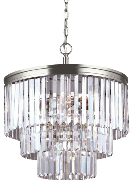 Sea Gull Lighting 4-Light Chandelier, Brushed Nickel