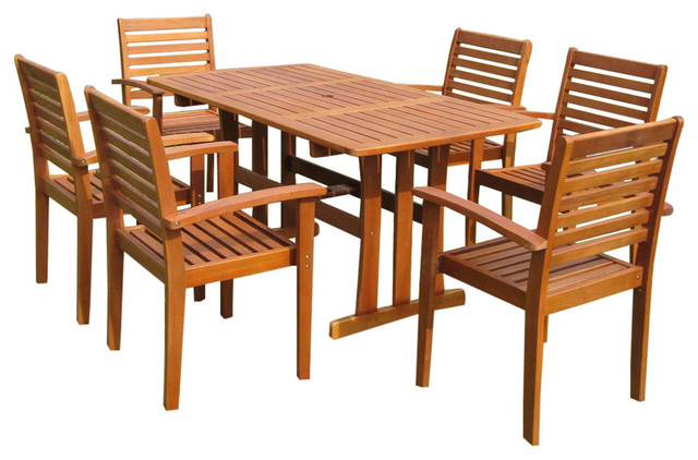 Badalona 7 Piece Patio Set, Brown Stain Contemporary Outdoor Dining Sets