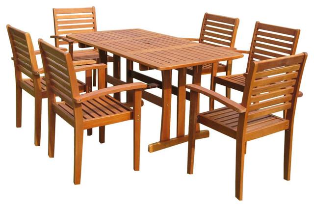 Balau Wood 7-Piece Patio Dining Set.