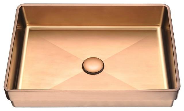 Dawn Stainless Steel Bathroom Vanity Sink Top Rose Gold Contemporary Bathroom Sinks By Dawn