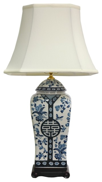 "26"" Floral Blue And White Vase Lamp."