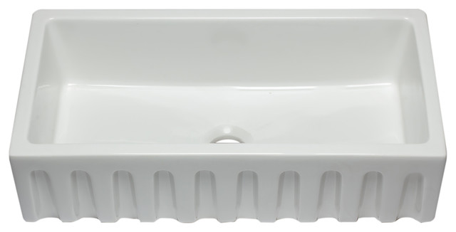 Alfi Brand 36 White Reversible Fluted Smooth Single Bowl Fireclay Farm Sink