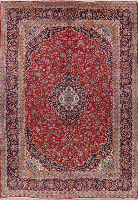 Consigned, Vintage Oriental Hand-Knotted Persian Low Pile Carpet, Red, 10'x14'