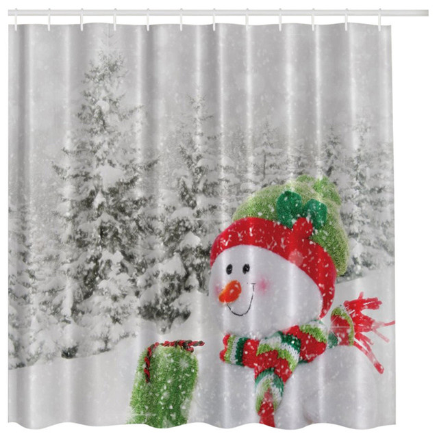 White Winter Snowman With Snow Covered Pine Trees Fabric Shower Curtain