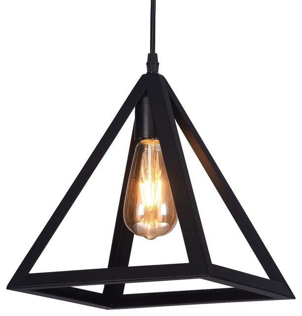 Raekor 10 Modern Black Iron Frame Square Pyramid Hanging Mini Pendant Light Transitional Lighting By Pf Accessories