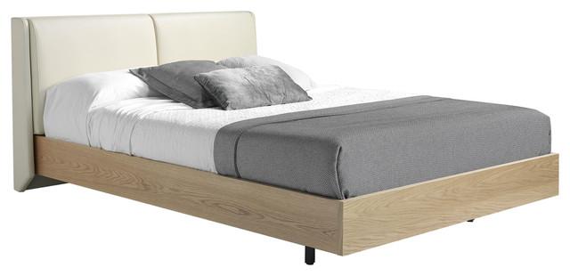 Leatherette Upholstered Oak Bed, Euro King