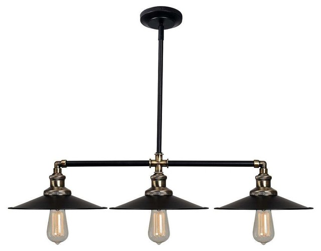 Shop Millennium Lighting 3 Light Neo Industrial Rubbed: Kenroy Home 93377BL Ancestry Island Light, Black And