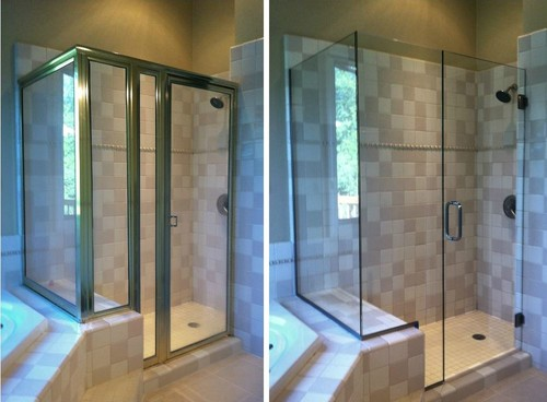before and after framed vs frameless shower doors