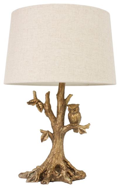Textured Gold Leaf Owl Lamp.
