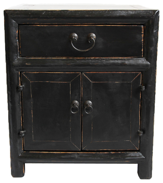 Consigned Vintage Black Side Cabinet - Asian - Nightstands And Bedside Tables - by Design Mix ...