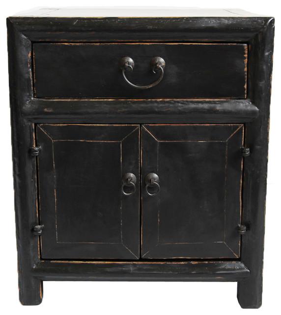 Consigned Vintage Black Side Cabinet Asian Nightstands