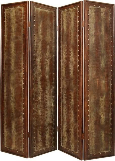 Reptillian Black Faux Leather 4 Panel Floor Screen
