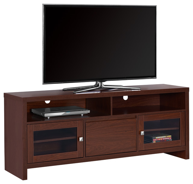 "TV Stand - 60""L, Cappuccino With Glass Doors - Contemporary - Entertainment Centers And Tv ..."