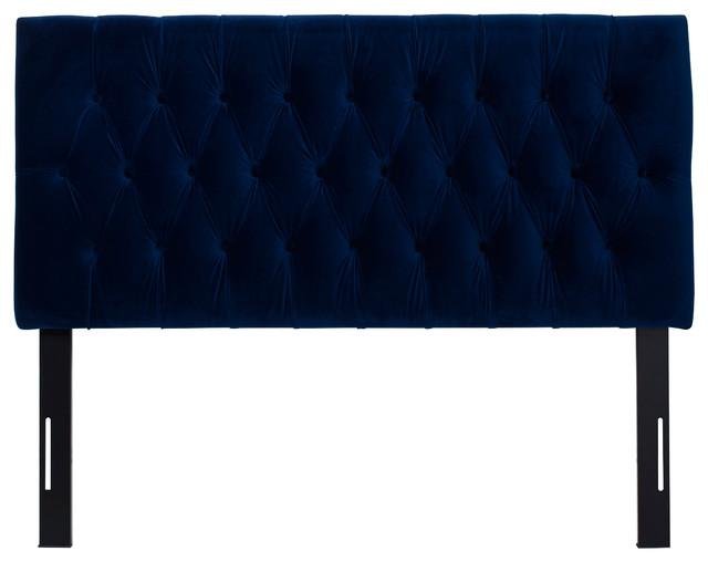 Arla Upholstered Headboard, Navy Blue, Queen