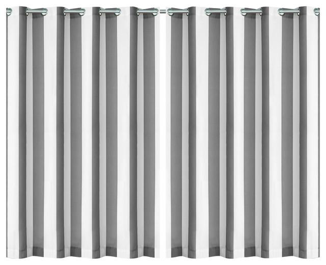 """Aiden Stripe Indoor/outdoor Window Panel, Gray, 50""""x108""""."""