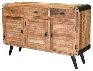 "Retro Style 79"" Rustic Mango Wood Industrial Sideboard"