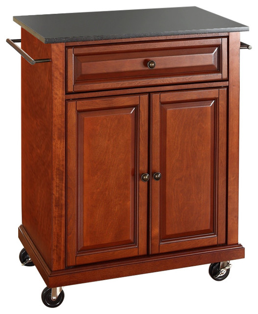 Cherry Portable Kitchen Island Cart With Granite Top And