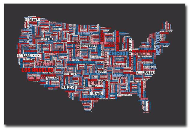 \'US Cities Text Map\' Canvas Art by Michael Tompsett