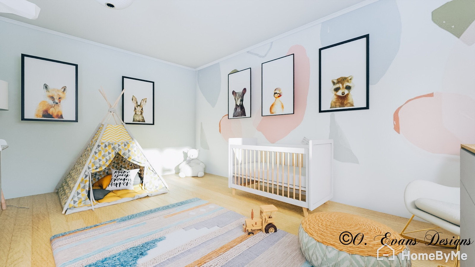 Example of a transitional nursery design in Tampa