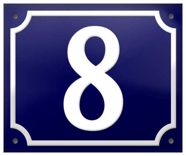 """Number """"8"""" Enamelled Wall Plaque, Blue, With Border"""