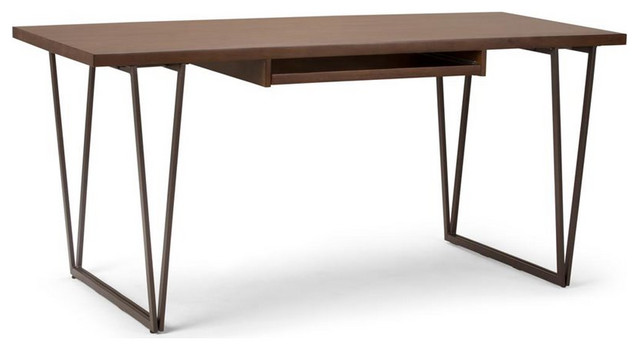 Ryder Solid Wood Desk With Metal Legs and Keyboard Tray