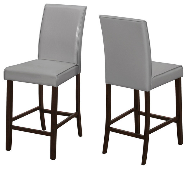 Leather-Look Counter Height Dining Chairs, Set Of 2, Gray.