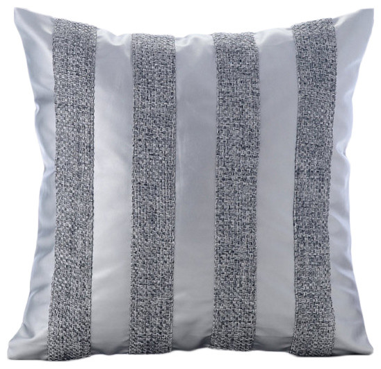 Silver Leather N Jute Stripes Silver Faux Leather Throw Pillow Magnificent Faux Leather Pillows Decorative Pillows