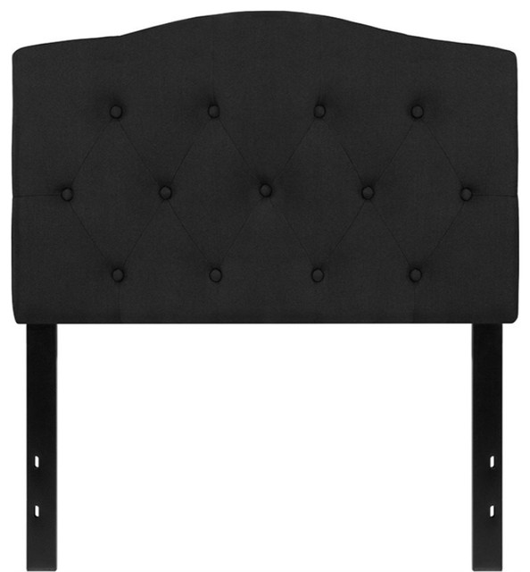 Cambridge Tufted Upholstered Headboard, Fabric, Black, Twin.