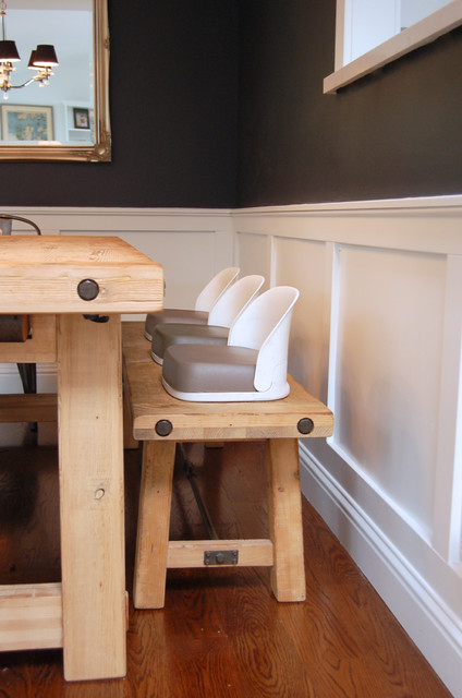 Three Booster Seats Lined Up On A Bench Seat Contemporary Dining Room