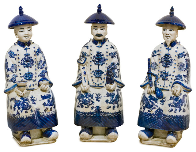 Qing Dynasty Emperor Figurines In Blue And White Porcelain Set Of 3