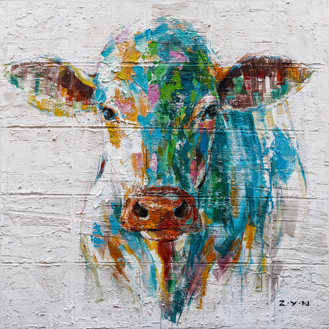 """""""Colorful Cow Hand Painted"""" Canvas Artwork, 40""""x40"""""""