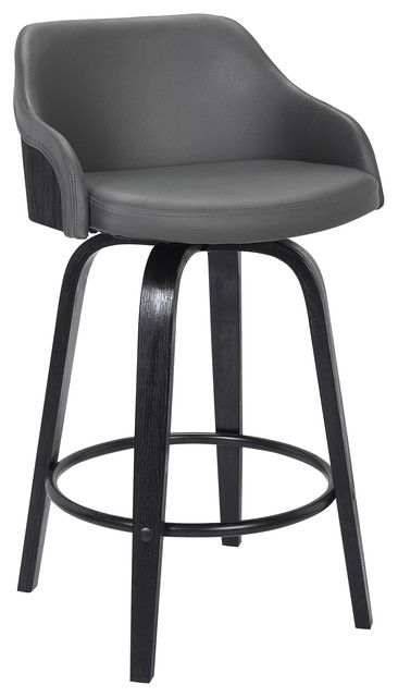 Surprising Alec 26 Counterstool Black Brush Wood Finish Gray Faux Leather Cjindustries Chair Design For Home Cjindustriesco