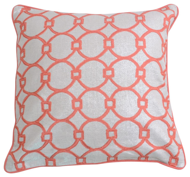Modern Beige With Dark Salmon Embroidery Decorative Pillowcase