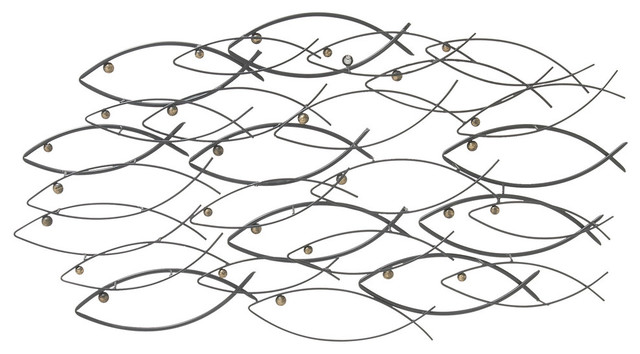 Coastal Living Iron School Of Fish Wall Art.