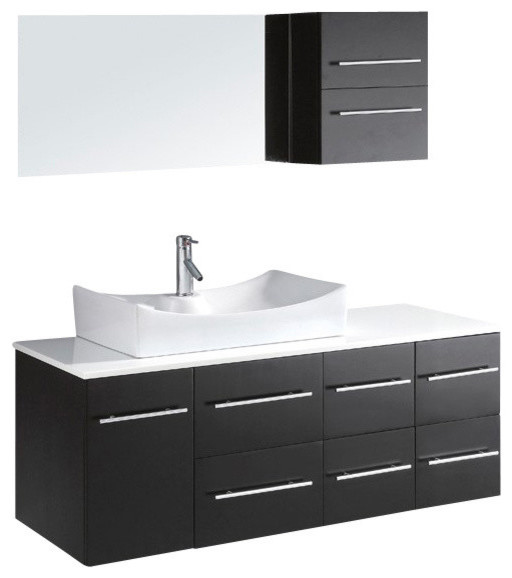 """Brussels Vanity, Espresso With White Stone Top, 55""""."""