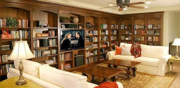 Stone Creek Bookcase Wall - Traditional - Living Room - Phoenix - by ...