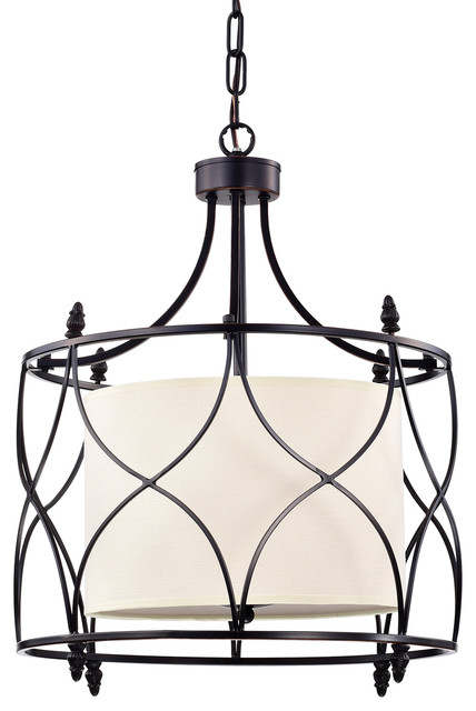 Merga 3 Light Orb Wrought Iron Drum Creamwhite Shade Chandelier Ceiling Fixture